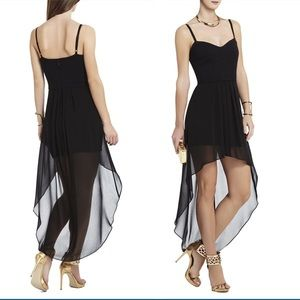 BCBGMaxAzria black bustier High Low dress.